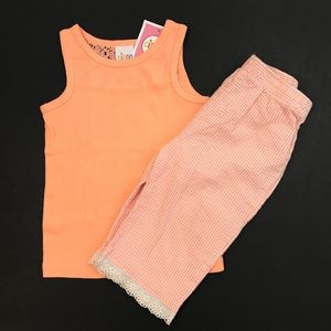 Girls 2-Piece Set Lace Back Top Gingham Pants 18 M